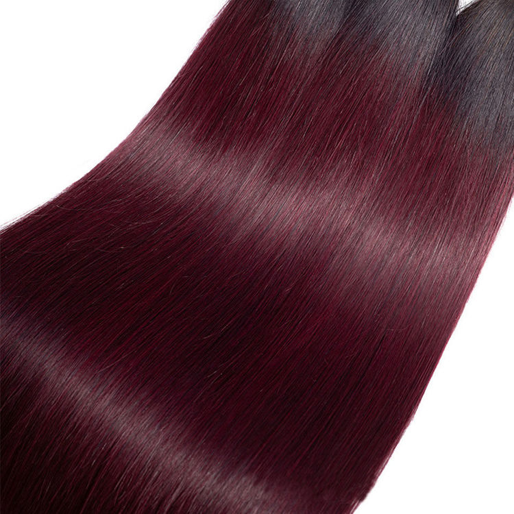 Picture of Rosa Hair Ombre Human Hair Bundles 1B 99J Straight Hair Bundles Remy Brazilian Hair Weave RED WINE Human Hair For Making Wig